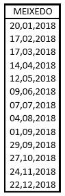 meixedo horario2018